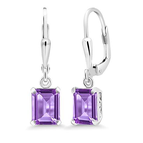 Amethyst Emerald Earrings - 3.00 Ct Emerald Cut Purple Amethyst 925 Sterling Silver Earrings