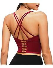 Nanomi Beauty Womens Gewatteerde Strappy Sport BH Workout Running Yoga Tops