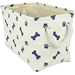 "DII Bone Dry Small Rectangle Pet Toy and Accessory Storage Bin, 14x8x9"", Collapsible Organizer Storage Basket for Home Décor, Pet Toy, Blankets, Leashes and Food-Nautical Blue Bone"