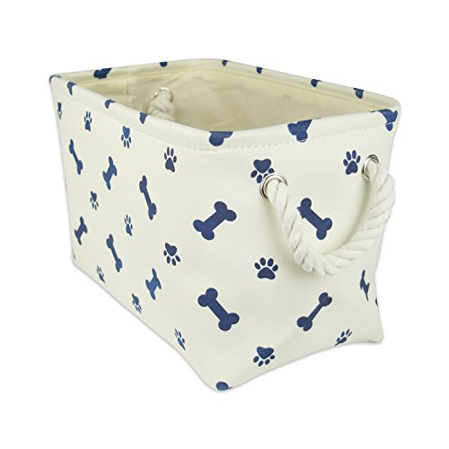 DII Bone Dry Small Rectangle Pet Toy and Accessory Storage Bin, 14x8x9, Collapsible Organizer Storage Basket for Home Décor, Pet Toy, Blankets, Leashes and Food-Nautical Blue Bone