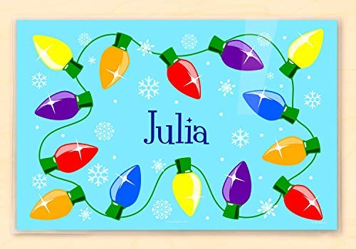 Placemats Christmas Personalized (Olive Kids Personlized Christmas Lights Placemat, Laminated, 18