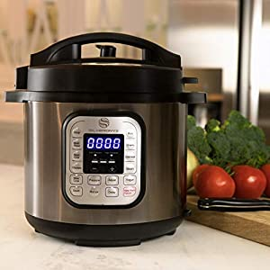 SilverOnyx-10-in-1-Programmable-Pressure-Cooker-6-Quarts-with-Stainless-Steel-Pot-Steamer-Warmer-Recipe-Book-Included-Instant-Pressure-Cook-Slow-Cook-Saut-Rice-Cooker-Yogurt-Maker-6-Quart