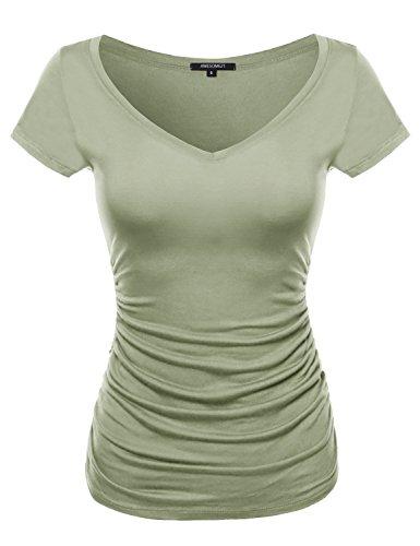 Cap Sleeve Scoop Neck Shirred Tee Dusty Sage Size (Green Womens Cap Sleeve T-shirt)
