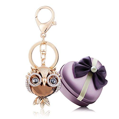 YGMONER Crystal Keychain Car Keyring & Bag Accessory Free with Gift Box (Owl(Champagne))
