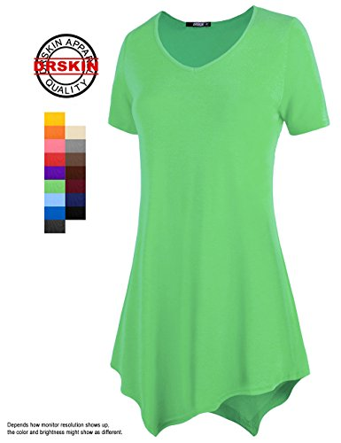 [DRSKIN] WS05 Women Handkerchief Hem Short Sleeve Long Tunic Top. (M, Green)