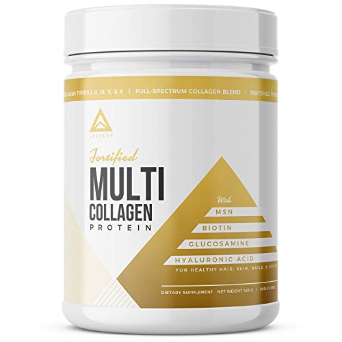 Fortified Multi Collagen: 5 Collagen Types+ Biotin, Hyaluronic Acid MSM Glucosamine Peptide TypesI, II, III, V & X, Grassfed Bovine, Wild Marine, Free-Range Chicken, Eggshell Membrane (Unflavored) (3 10 Nutrition)