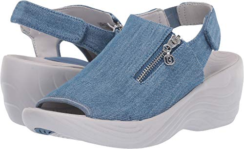 BZees Women's Zipline Washed Denim Fabric 10 W US (Shoe Cone Platform Heel)