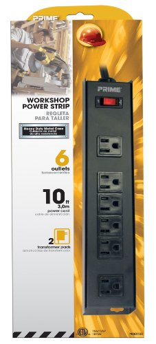 Prime Wire & Cable PB801120 6-Outlet 4+2 Metal Strip with 10-Foot Cord, Black