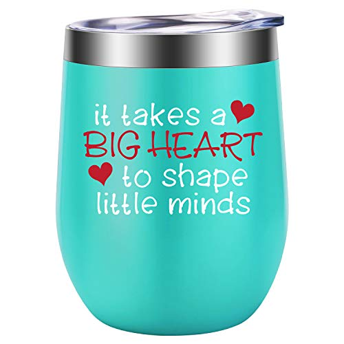 It Takes a Big Heart to Shape Little Minds - Teacher Appreciation Gifts - Funny Best Teacher Gifts for Women - Thank You, Back to School, Birthday Wine Gifts for Teachers - LEADO Wine Tumbler Cup