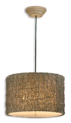 "Uttermost 12.3"" Inch Knotted Rattan Light Hanging Shade Hand Rubbed Ivory Finish, Brown Dry Brushing"