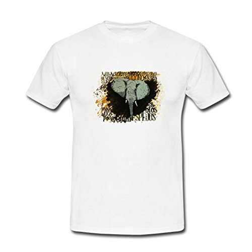 JIUDUIDODO Men's White Short Sleeve Crew Neck Cotton Elephant T-Shirt M