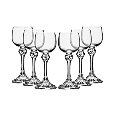 "Bohemia Crystal ""Julia"" Liqueur Glasses, 2 Ounce, Set Of 6, Clear"