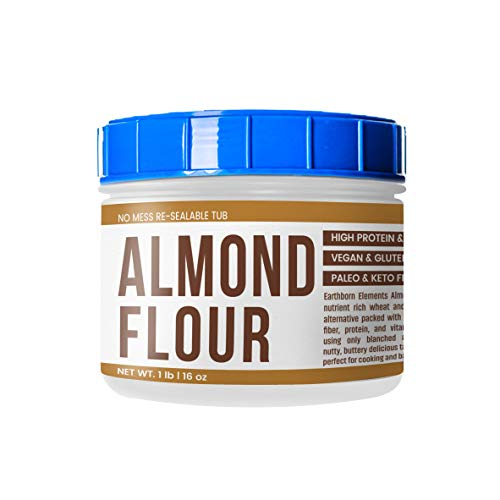 Almond Flour (1 lb. (16 oz.)) by Earthborn Elements, Resealable Tub, Paleo & Keto Friendly, Gluten-Free, Vegan, Product of California, Blanched & Superfine