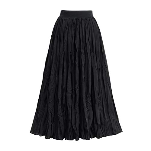 Birdfly ℱree Ship Women SangChan Silk Fabric Vintage Elastic Waist Pleated Mesh Nobility Skirts Us Size