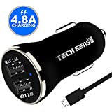 Tech Sense Lab (Australia) 4.8A, 23W Dual USB Ultra Fast Car Charger (Black N Gold)