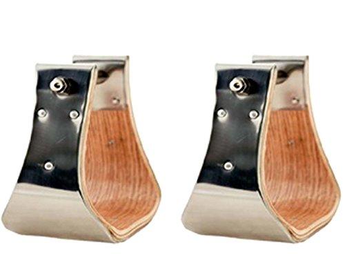 ProRider Wooden Bell Stirrups 5-1/2 Wide Stainless Steel Hand Bound 3