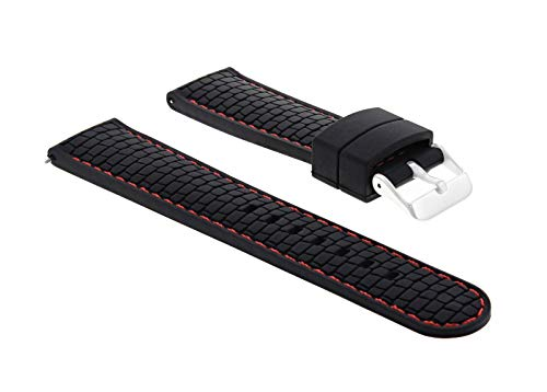 Ewatchparts 24MM Rubber Watch Strap Band for Croton CR307952 Black RED Stitch #4R