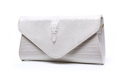 Bidear Envelope Clutch Purse Genuine Leather Party Handbag Evening Bags for Women (Leather-White) by Bidear
