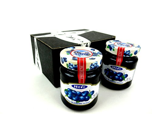 Hero Premium Blueberry Fruit Spread, 12 oz Jars in a BlackTie Box (Pack of 2) (Blueberry Jam)