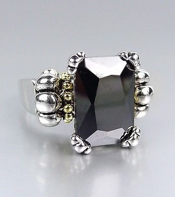 Blazers Jewelry 1985 - Emerald-cut Black Onyx CZ Crystal Glacier Caviar Ring