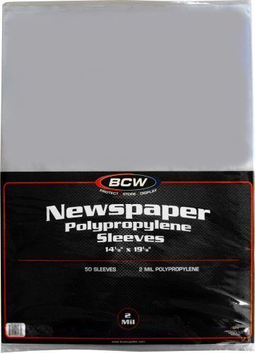 (50) Newspaper Sleeves - 14-1/8 x 19-1/8 - BCW Brand