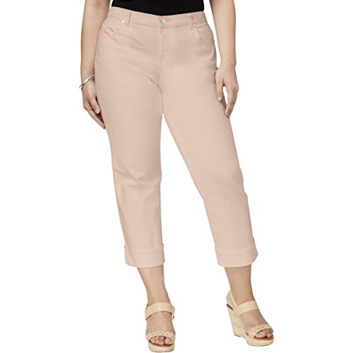 Style & Co. Womens Plus Mid-Rise Cuffed Capri Jeans Pink 24W