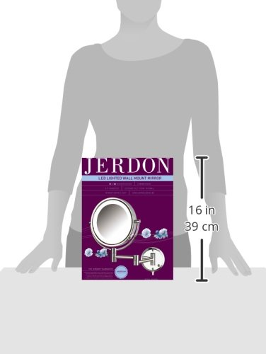 Jerdon HL88CL 8.5-Inch LED Lighted Wall Mount Makeup Mirror with 8x Magnification, Chrome Finish by Jerdon (Image #5)