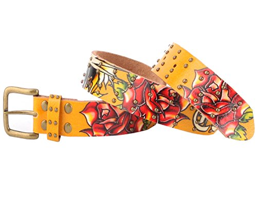 Ed Hardy EH3131 Open Mouth Tiger Girls-Leather Belt (Mustard, Medium) (Ed Hardy Fashion Belt)