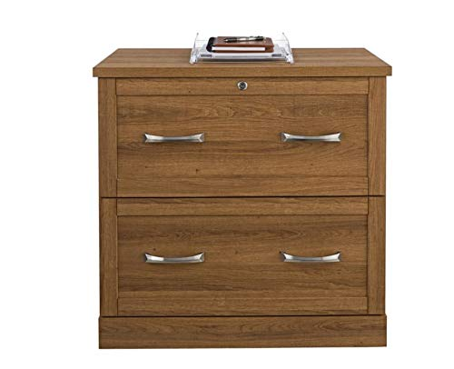 Realspace Premium Letter-/Legal-Size Lateral File Cabinet, 2 Drawers, Golden Oak
