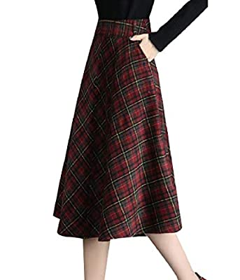 RDHOPE-Women Below The Knee A-line Elegent Plaid Oversize Mid Long Skirt