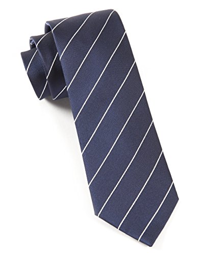 (The Tie Bar 100% Woven Silk Navy Blue Pencil Pinstriped Tie)