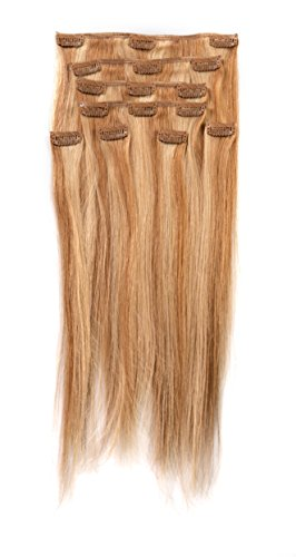 """Donna Bella Full Head Human Clip-In Hair Extensions 16"""" Leng"""