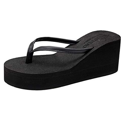 - MIOKE Women's Wedge High Heel Flipflops Sandals Platform Summer Beach Nonslip Comfort Casual Thong Sandal Black
