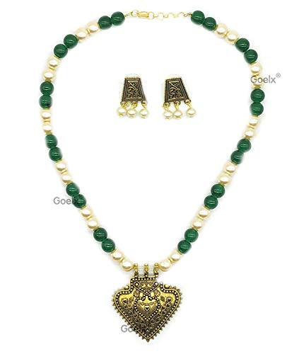Golden Pearl and Green Pendant Necklace with Antique Gold Earrings ()