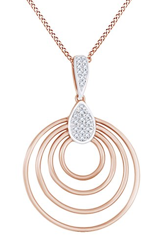 Multi Diamond Circle Pendant - AFFY Round Cut White Natural Diamond Multi Circle Pendant Necklace in 14k Solid Rose Gold (0.09 Ct)