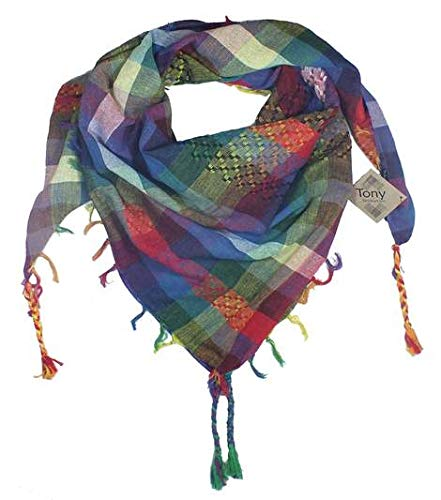 100% Cotton Shemagh Keffiyeh Scarf Wrap for Women and Men by Tahrir Scarf - 3 Sizes and many color options (5 Pack, Tony)