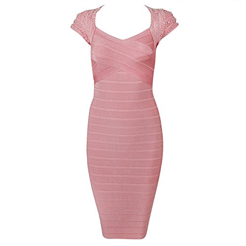 "Lumé Women's ""Celine"" Rose Pink Hand Beaded Dress SIZE (L)"
