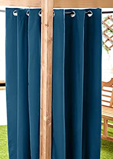 Blue Water Resistant Outdoor Eyelet Curtain 55'x72' Gazebo Summer House