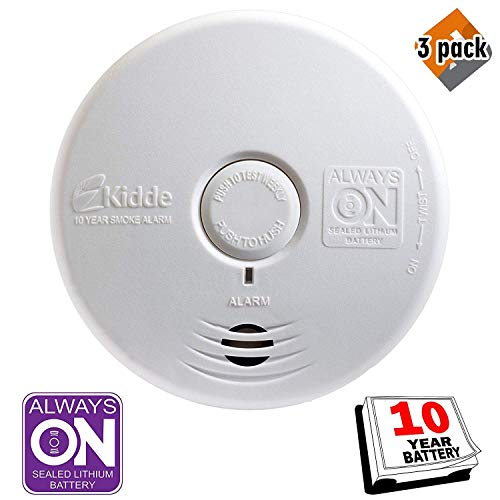 Kidde 21010170 P3010K-CO Worry-Free Kitchen Photoelectric Smoke and Carbon Monoxide Alarm with 10 Year Sealed Battery - 3 Pack