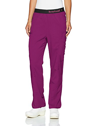- HeartSoul Scrubs Women's Head Over Heels so in Love Low Rise Pull-on Pant, Wine, Large Petite