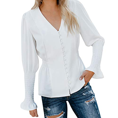 Women Vintage White Shirts Casual Solid Long Sleeve Button V Neck Blouse Fashion Elastic Waist Tops(white,XL) by iQKA (Image #7)