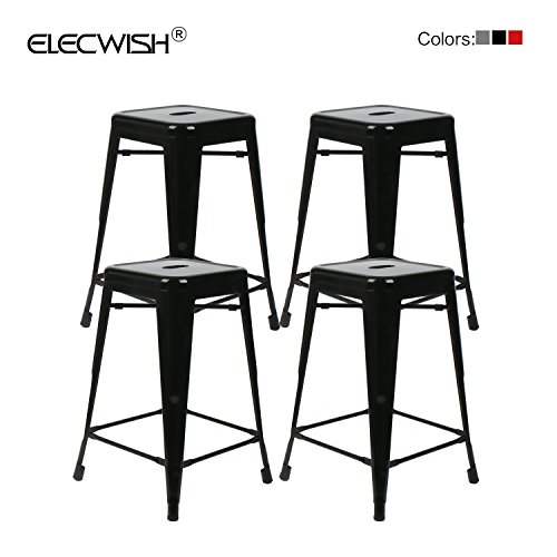 Elecwish Elecwish 4 Pack Black High Backless 24″ High Stacking Industrial Metal Indoor/Outdoor Modern Barstool With Square Seat For Sale