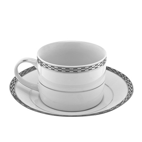 10 Strawberry Street Athens 8 Oz Can Cup and Saucer, Set of 6, Platinum