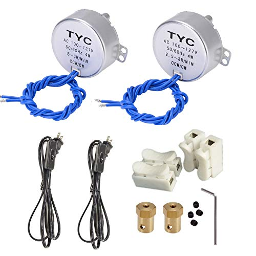 2PCS Synchronous Synchron Turntable Motor Electric Motor for Cup Turner,Cuptisserie,Tumbler Cup Rotator with 7mm Flexible Coupling Connector,50/60Hz AC100~127V 4W CCW/CW (2.5-3RPM+5-6RPM)