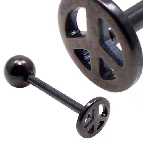 noir signe de paix titane logo plaqué barre de langue barbell 14g (1,6 mm x 14mm)