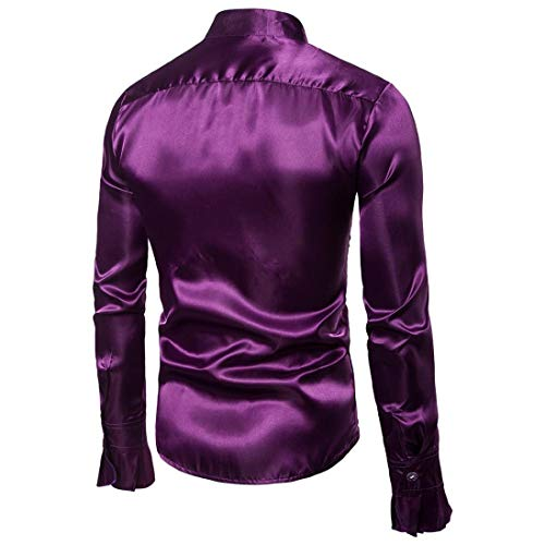 Top Purple Sleeve Blouse Casual Shirt Stand BHYDRY Evening Shirts Praty Autumn Shirt Men's Solid Collar Long Fashion HqwUaZwnR