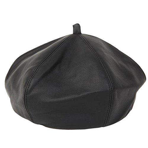 Ealafee Women's Classic French Style Black Beret Leather Beanie Bucket Hat (Ladies Leather Hats)