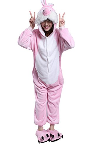 (Pink Bunny Fancy Dress Costumes Jumpsuit Kigurumi Playsuit Outfits S)