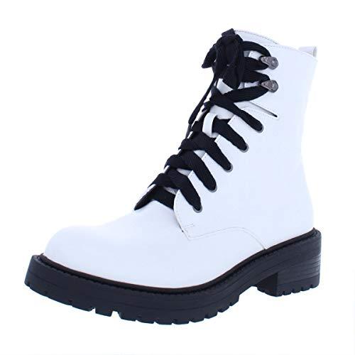 Madden Girl Women's ALICEE Combat Boot White Paris 7.5 M US ()