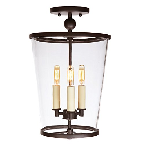 JVI Designs 3053-08 3-Light Charleston Semi Flush, Medium